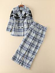 Feminino Camisa Calça Conjuntos Casual Vintage Outono,Xadrez Com Miçangas Patchwork Colarinho de Camisa Manga Longa Inelástico