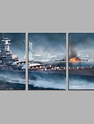 cheap -Hand-Painted Famous Horizontal Panoramic, Artistic Classic Office/Business Modern/Contemporary Canvas Print Home Decoration Three Panels
