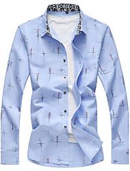cheap -Men's Daily Plus Size Casual All Seasons Shirt,Print Shirt Collar Long Sleeves Polyester Spandex Medium