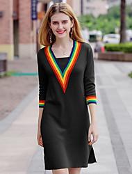 baratos -Mulheres Moda de Rua / Sofisticado Evasê / Bainha / Tricô Vestido Estampa Colorida Decote V Acima do Joelho