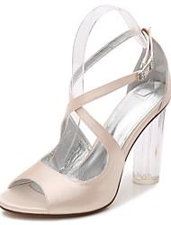 preiswerte -Damen Schuhe Satin Frühling / Sommer Transparente Schuh / Knöchelriemen / Pumps Sandalen Blockabsatz / Kristallabsatz / Durchsichtige