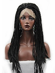 cheap -Women Synthetic Wigs Lace Front Long Curly Afro Black Braided Wig Plait Hair For Black Women African Braids Party Wig Halloween Wig