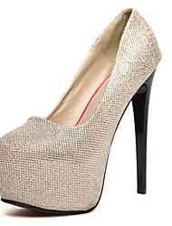 preiswerte -Damen Schuhe PU Frühling Herbst Pumps High Heels Stöckelabsatz Runde Zehe für Kleid Büro & Karriere Gold Schwarz