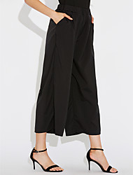 Women's Mid Rise Stretchy Chinos Pants,Simple Wide Leg Pure Color Solid