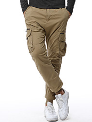 abordables -Hombre Tallas Grandes Ajustado Corte Ancho Chinos Pantalones - Un Color