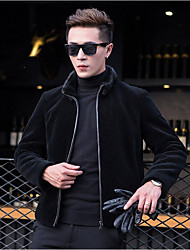 Men's Going out Casual/Daily Simple Chinoiserie Fall Winter Jacket,Solid Stand Long Sleeve Regular Faux Fur Fur Trim