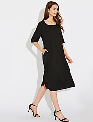 Women's Casual/Daily Plus Size Simple Loose Dress,Solid Round Neck Midi Cotton Linen Summer Mid Rise Inelastic Medium