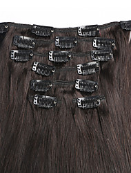 Clip In Brazilian Straight Virgin Hair Extensions 7Pcs/Set 100G Natural #1b Color Human Hair