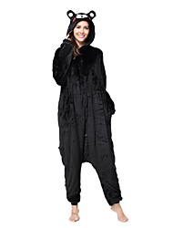 cheap -Kigurumi Pajamas Bear Onesie Pajamas Costume Flannel Toison Black Cosplay For Adults' Animal Sleepwear Cartoon Halloween Festival /
