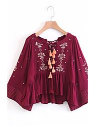 Camicia Da donna Per uscire Casual Sensuale Semplice Moda città Primavera Autunno,Tinta unita Ricamato A V Cotone Altro Manica lunga