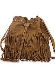 baratos -Mulheres Bolsas Couro Ecológico Bolsa de Ombro para Compras Casual Todas as Estações Preto Camel Khaki
