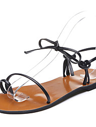 Women's Shoes PU Summer Light Soles Sandals Flat Heel Block Heel Round Toe Lace-up For Casual Dress Light Brown Black White