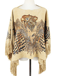 Women Vintage Cloak Cape Bohemian Tassels Fringed Shawl Wrap Scarf Wool Acrylic Rectangle Eagle Print Spring Fall Top Khaki/Grey