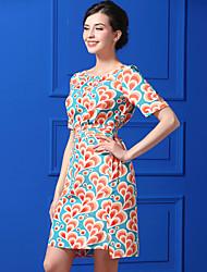 Baoyan Women's Casual/Daily Simple Sheath DressPrint Round Neck Knee-length Short Sleeve Polyester Summer High Rise Inelastic Thin