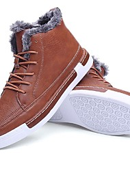 cheap -Men's Shoes Leatherette Winter Snow Boots Boots Booties/Ankle Boots Lace-up For Casual Outdoor Dark Grey Brown Black