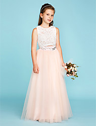 cheap -Princess / Two Piece Floor Length Flower Girl Dress - Lace / Tulle Sleeveless Jewel Neck with Crystals by LAN TING BRIDE®