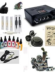 billige -Tattoo Machine Starter Sæt 1 x legering tattoo maskine til foring og skygge LED strømforsyning 5 x engangsgreb 5 Stk. Tatoveringsnåle