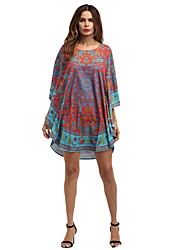 Women's Going out Loose Dress,Print U Neck Above Knee 3/4 Length Sleeves Polyester Summer Low Rise Micro-elastic Medium