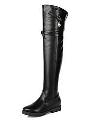 Women's Shoes Leatherette Fall Winter Riding Boots Fashion Boots Boots Low Heel Platform Round Toe Thigh-high Boots Imitation Pearl Zipper