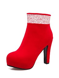 cheap -Women's Shoes Flocking Fall Winter Comfort Boots Chunky Heel Round Toe Sequin Zipper For Outdoor Office & Career Blue Red Black