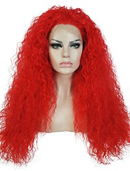 cheap -Synthetic Lace Front Wig kinky Straight Red Women's Lace Front Halloween Wig Party Wig Natural Wigs Cosplay Wig Long Synthetic Hair