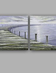 Hand-Painted Landscape Square,Rustic/Lodge Contemporary Business Two Panels Canvas Oil Painting For Home Decoration