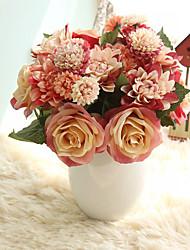 bouquet rose dahlias fiori artificiali caduta vivaci foglia falsa fiore di nozze 8 ramo / bundle