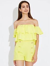 billige -Dame I-byen-tøj Sparkedragter - Ensfarvet Bateau-hals Højtaljede