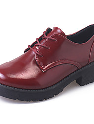 cheap -Women's Shoes PU Fall Winter Gladiator Comfort Oxfords Chunky Heel Round Toe Lace-up For Casual Dress Burgundy Gray Black