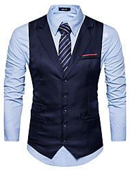 cheap -Men's Daily Simple Casual Winter Fall Vest,Solid Notch Lapel Sleeveless Regular Cotton