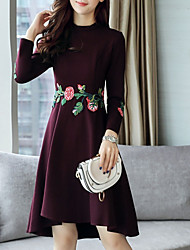 cheap -Women's Going out Plus Size Street chic Sheath Dress,Embroidered Round Neck Knee-length Asymmetrical Long Sleeves Nylon Spandex Winter