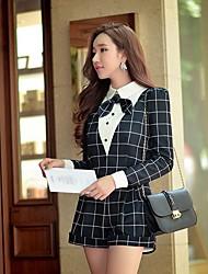 baratos -Mulheres Vintage Casual Temática Asiática Cintura Alta Com Stretch Solto Shorts Calças, Poliéster Primavera Outono Estampa Colorida