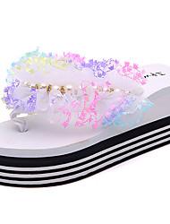Women's Shoes PU Spring Summer Comfort Slippers & Flip-Flops Flat Heel Open Toe Flower For Dress Fuchsia Yellow Black White