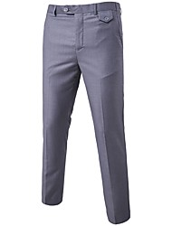 cheap -Men's Cute Straight Business Pants - Solid Colored Formal Style