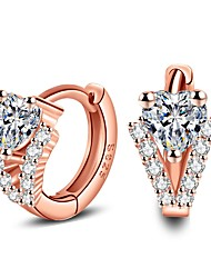 cheap -Women's Luxury AAA Cubic Zirconia Sterling Silver / Crystal Stud Earrings - Luxury / Fashion Rose Gold Triangle Earrings For Casual /
