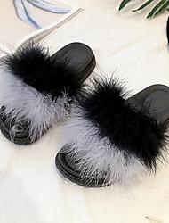 Da donna Scarpe Pelle/pelliccia Inverno Comoda Fodera di pelliccia Pantofole e infradito Piatto Punta tonda Piume Per Casual Nero Grigio