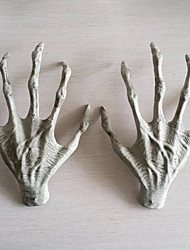 2PCS Halloween Plastic Skeleton Hands Witch Hands Haunted House Escape Horror Props Decorations