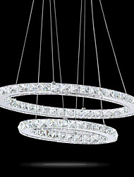 cheap -Modern LED Crystal Oval Pendant Lights Lamps Fixtures Chandeliers Crystalline Light 2 Ring Indoor Cristal Ceiling Lighting Lustre Lamps 6000K