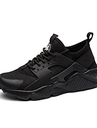 cheap -Men's Shoes Pigskin Tulle Fall Winter Comfort Light Soles Sneakers Lace-up For Athletic Casual Black/White Black White