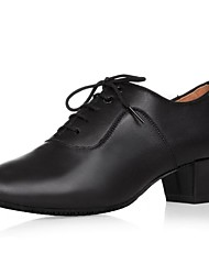 cheap -Men's Latin Shoes Leather Oxford Indoor Chunky Heel Dance Shoes Black