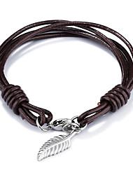 Муж. Кожаные браслеты Хип-хоп Rock Кожа Титановая сталь В форме листа Бижутерия Назначение Для вечеринок День рождения