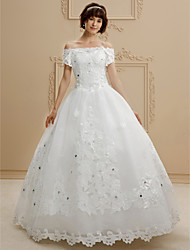 cheap -Ball Gown Off-the-shoulder Floor Length Lace Tulle Wedding Dress with Beading Appliques by QQC Bridal