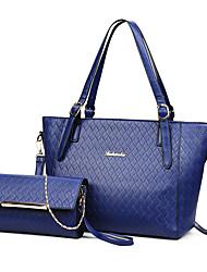 baratos -Mulheres Bolsas PU Conjuntos de saco 2 Pcs Purse Set Ziper Branco / Preto / Vermelho