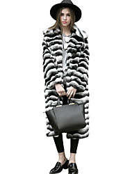 Women's Casual/Daily Work Simple Active Street chic Fall Winter Fur Coat,Striped Notch Lapel Long Sleeve Long Faux Fur Polyester Others