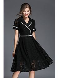 cheap -Women's Going out A Line Dress - Solid Colored Black, Lace Peter Pan Collar / Spring / Fall