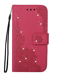 cheap -Case For Samsung Galaxy J7 (2017) J3 (2017) Wallet Card Holder Rhinestone with Stand Flip Embossed Pattern Magnetic Full Body Lace