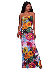 cheap -Women's Party Sexy Bodycon Dress,Floral Strapless Maxi Sleeveless Polyester Spandex Summer High Rise Stretchy Medium