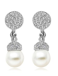 cheap -Women's Drop Earrings AAA Cubic Zirconia Imitation Pearl Bohemian Gold Plated Round Jewelry Silver Party Birthday Daily Office & Career