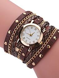 abordables -Hombre Mujer Cuarzo Reloj Pulsera Chino Gran venta PU Banda Encanto Casual Reloj creativo único Elegant Moda Negro Blanco Azul Rojo