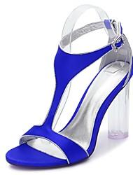 preiswerte -Damen Schuhe Satin Frühling Sommer T-Riemen Pumps Knöchelriemen Transparente Schuh Sandalen Blockabsatz Durchsichtige Absätze